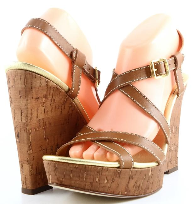 Item - Luggage Ace Leather Strappy Cork Wedges Sandals Size US 9.5 Regular (M, B)