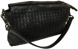 Valentina Italian Made Woven Leather New Brass Hardware Multi Compartments Shoulder Bag