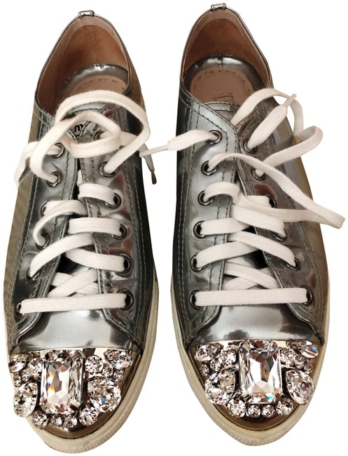 Miu Miu Silver 2017 Patent Leather Sneakers Size EU 38.5 (Approx. US 8.5) Regular (M, B) Miu Miu Silver 2017 Patent Leather Sneakers Size EU 38.5 (Approx. US 8.5) Regular (M, B) Image 1