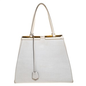 Fendi Suede Leather Tote in White