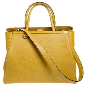 Fendi Fabric Leather Tote in Yellow