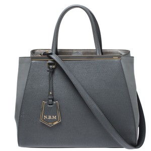Fendi Fabric Leather Tote in Grey