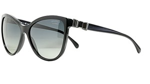 Chanel Chanel CH 5281-Q c. 888/S8 58mm Cat Eye Leather Bow Polarized