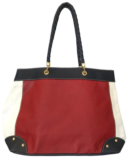 Item - Textured Leather Vintage Large with Braided Handles Red White Navy Tote
