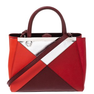 Fendi Fabric Leather Tote in Multicolor