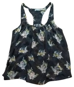 Urban Outfitters Top Navy Blue With Flowers
