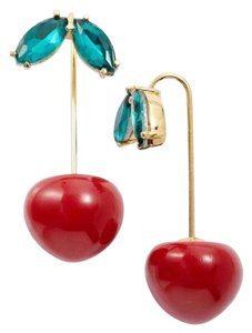 Kate Spade Kate Spade Red Ma Chérie Cherry Hanger 12k Gold Plated Earrings