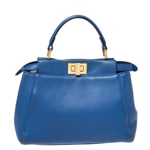 Fendi Leather Mini Blue Clutch