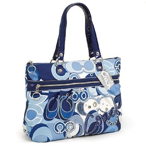 Coach C Signature Pop Embellished White Tote in Denim Blue