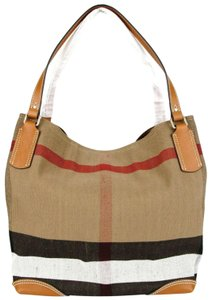 Burberry Saddle Canvas Check Tote in Brown
