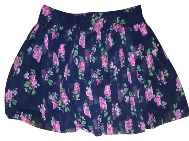 Hollister Skirt Navy Blue With Flowers