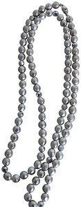 monet VINTAGE SIGNED MONET LONG GREY PEARL BEADS NECKLACE