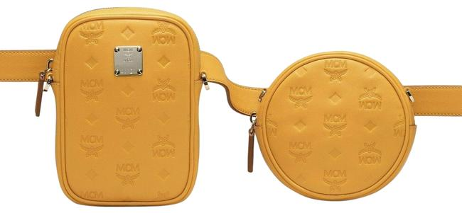 Item - Belt Essential Double Pouch Convertible Mwz9ase10yj Yellow Leather Cross Body Bag