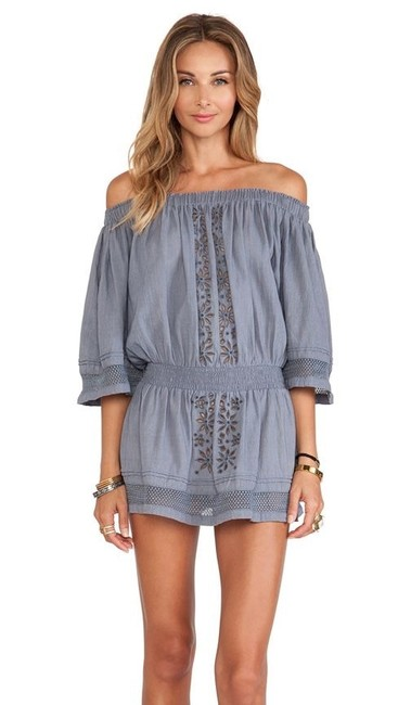 Item - Gray Fiona Embroidered Off The Shoulder Short Casual Dress Size 8 (M)