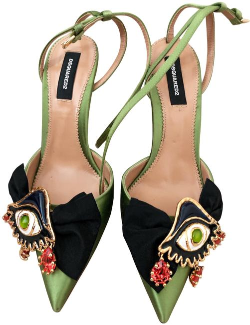 Item - Lime Green/Gold 2017 Runway Satin Eye Sandals Size EU 38 (Approx. US 8) Narrow (Aa, N)
