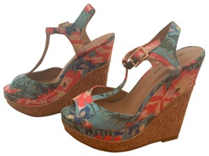Call It Spring blue, pink, floral Wedges