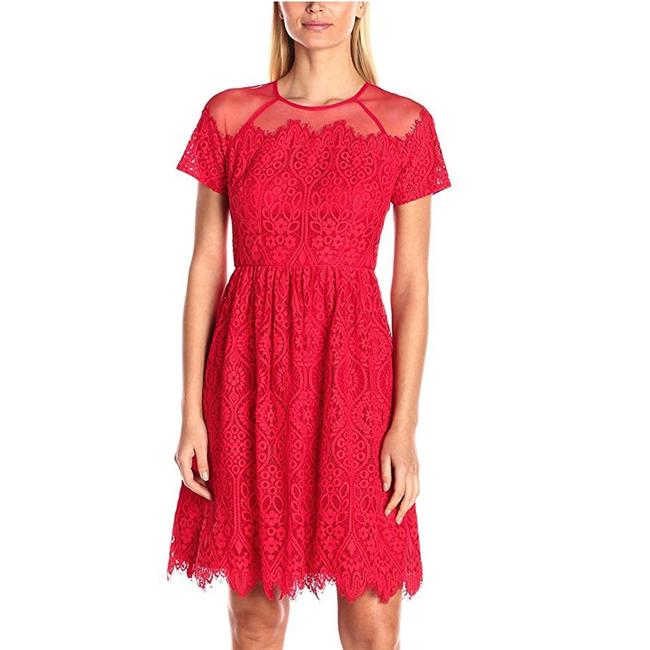 Item - Red Rose Trellis Eyelash Lace Sheer Fit Flare Short Sleeve Party Mid-length Cocktail Dress Size 2 (XS)