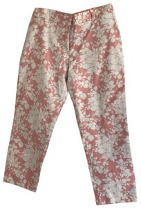 Talbots Cotton Stretch Pants Capris pink and white