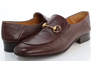 Gucci Brown Horsebit Leather Loafers Shoes