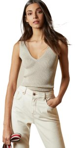 Ted Baker Neutral Beige Ribbed Top Natural