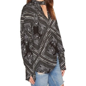 Free People Chocker Patterned Mock Neck Long Sleeves Tunic
