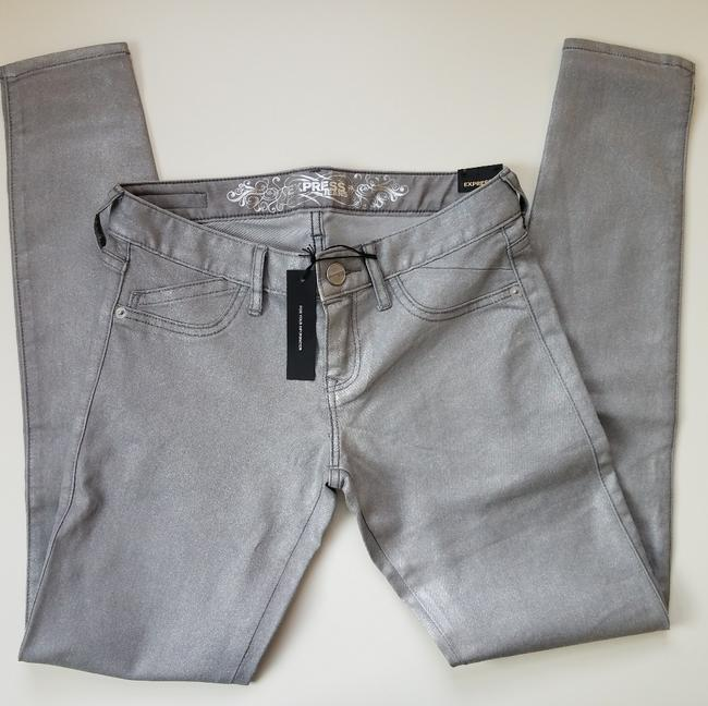 Express Silver Coated Stella Skinny Jeans Size 24 (0, XS) Express Silver Coated Stella Skinny Jeans Size 24 (0, XS) Image 2