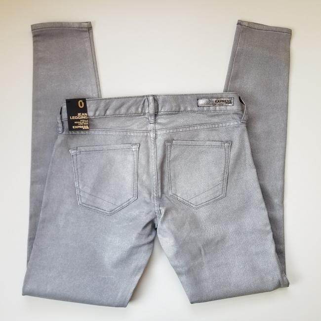 Express Silver Coated Stella Skinny Jeans Size 24 (0, XS) Express Silver Coated Stella Skinny Jeans Size 24 (0, XS) Image 3