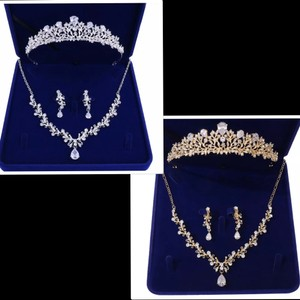 Gold Or Silvertiara Necklace Earring Rhinestone Gold Or Silver Jewelry Set