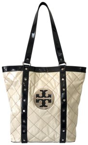 Tory Burch Quilted Patent Leather Studded Casual Classic Tote in Cream & Black