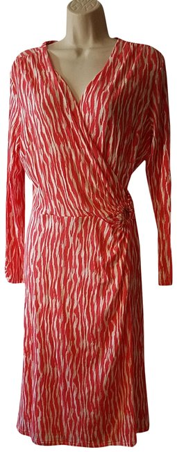 Item - Coral Ivory Breezeway Salmonberry/Ivory Zebra Print Faux-wrap Mid-length Casual Maxi Dress Size 8 (M)