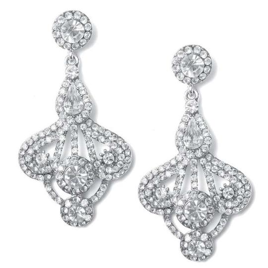 Silver Fan Style Rhinestone Earrings