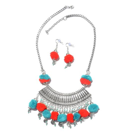 Preload https://img-static.tradesy.com/item/27318940/teal-handcrafted-red-and-pom-pom-charms-boho-style-necklace-0-0-540-540.jpg