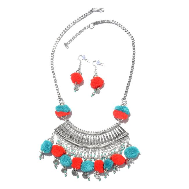Teal Handcrafted Red and Pom Pom Charms Boho Style Necklace Teal Handcrafted Red and Pom Pom Charms Boho Style Necklace Image 1