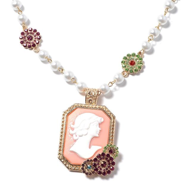 Pink Cameo Simulated Pearl Austrian Crystal Pendant (20-22) Necklace Pink Cameo Simulated Pearl Austrian Crystal Pendant (20-22) Necklace Image 1