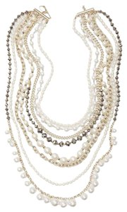 Ann Taylor Multi Pearl Crystal Layer Statement Necklace