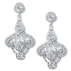 Silver Gatsby Style Rhinestone Earrings