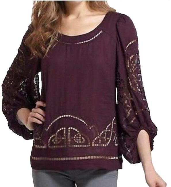 Item - Purple Meadow Rue Eyelet Cutout Peasant S Blouse Size 6 (S)