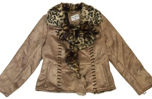 Pamela McCoy Laced Leopard Faux Fur Faux Brown Leather Jacket