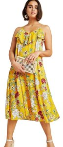 Anthropologie short dress New Yellow Motif Floral Chic Ruffle Rayon on Tradesy