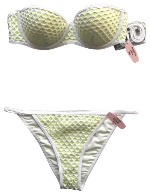 Item - Lime Green and White Sexy Stylish Swimwear Bikini Set Size 8 (M)