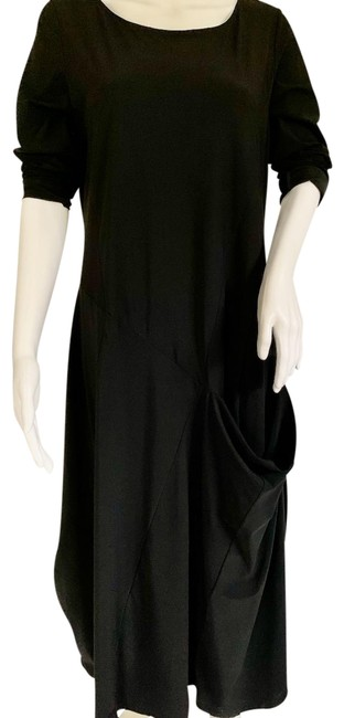 Item - Black Jersey Nylon Blend Stretch Matt One Pocket Tunic Long Casual Maxi Dress Size 16 (XL, Plus 0x)