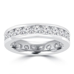 Madina Jewelry White 3.00 Ct Round Cut Diamond Eternity In Channel Setting Ring
