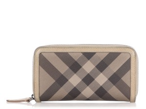 Burberry Leather and Check Canvas Zip Around Wallet