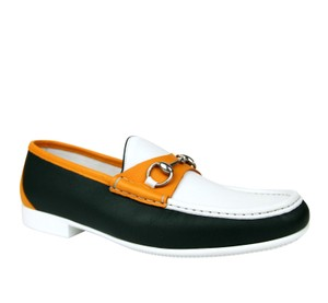 Gucci White / Dark Green / Orange Horsebit Men's Leather Loafer Moccasin 337060 Ayo70 3060 Shoes
