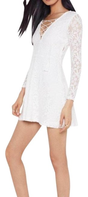 Nasty Gal White No Lace Like You Lace-up Short Night Out Dress Size 8 (M) Nasty Gal White No Lace Like You Lace-up Short Night Out Dress Size 8 (M) Image 1
