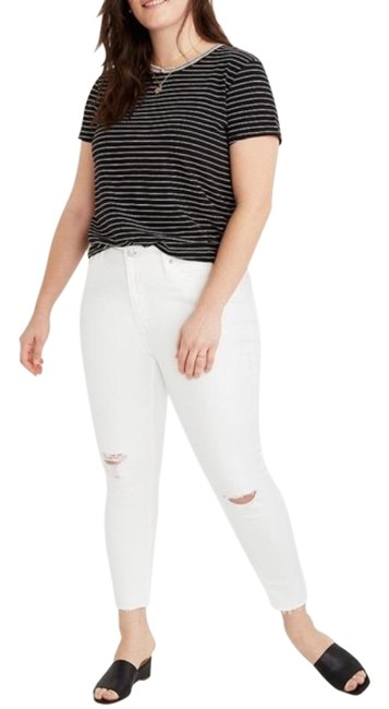 Item - White Light Wash Mid Rise Crop In Pure Ripped Knees Skinny Jeans Size 24 (Plus 2x)