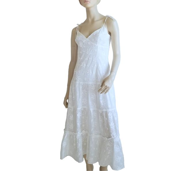 Item - Ivory Embroidered Long Casual Maxi Dress Size 10 (M)