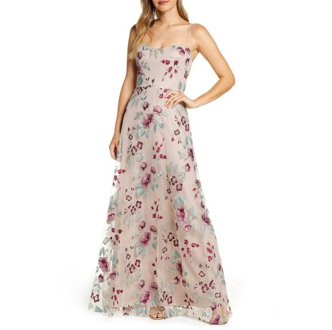 Item - Pink Rayon Blend Drew Embroidered Tulle Formal Bridesmaid/Mob Dress Size 6 (S)