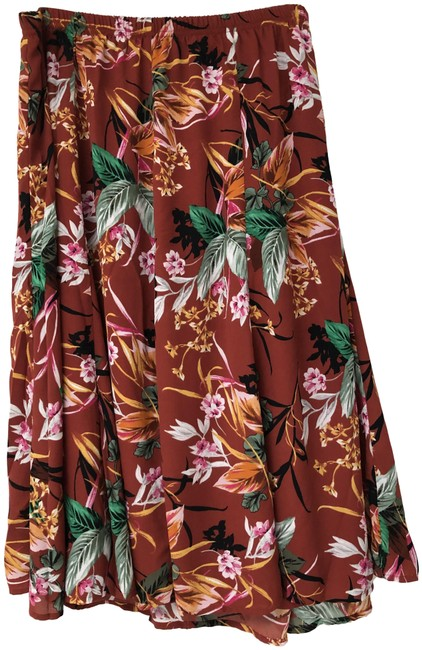 Item - Multicolor Tropical Printed Madder Root Skirt Size 26 (Plus 3x)