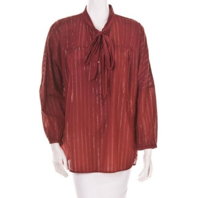 Item - Red Tan Blouse Size 8 (M)